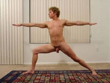 Nudist yoga man