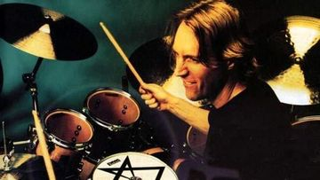 Photograph of Danny Carey playing the drums