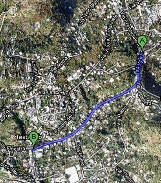 Percorso dal Vatoliere alla Standa percorrendo Via Provinciale Regina Elena.