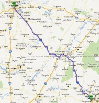 Driving time from Atlanta Georgia to Nashville Tennessee ...