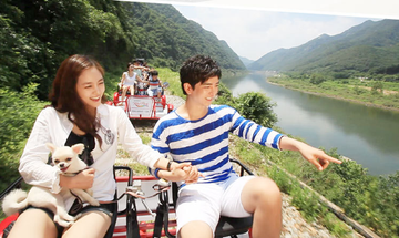 Rail biking in Gangchon